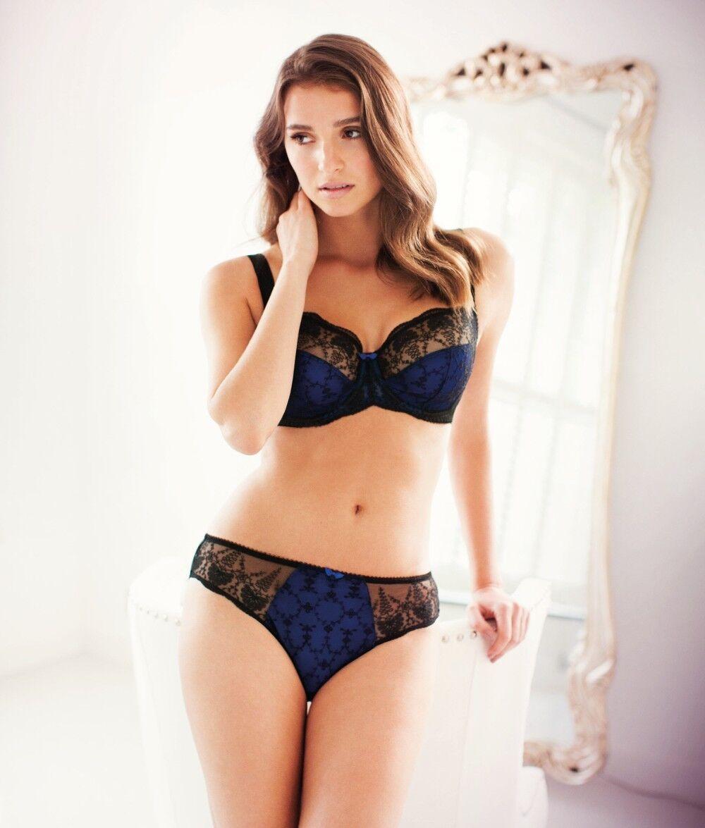 Fantasie Elodie Bra Side Support Balcony Size 30D Black Cobalt Blue Lace 2182