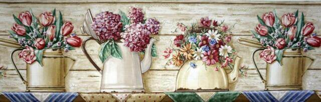 Daisy Tulip Hydrangea Flowers Pots Tea Kettle Wood Panel Rustic Wallpaper Border
