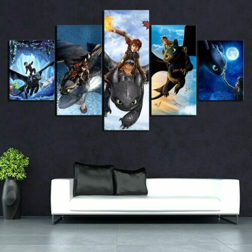 5 Panel Cartoon Movie How To Train Your Dragon Wall Art Painting Picture Home