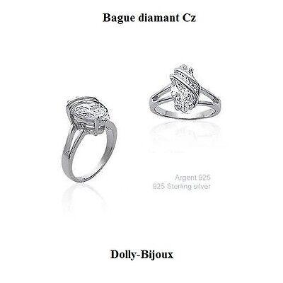 Bijoux Bague T62 alliance Femme de Diamant Cz Argent Massif 925