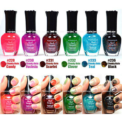 """KLEANCOLOR NAIL POLISH CHUNKY HOLO LOT OF 6 SET LACQUER """"Answer Of Significance"""""""