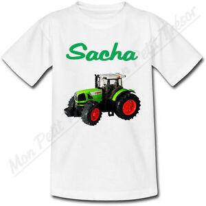 T-shirt-Enfant-Tracteur-Vert-avec-Prenom-Personnalise