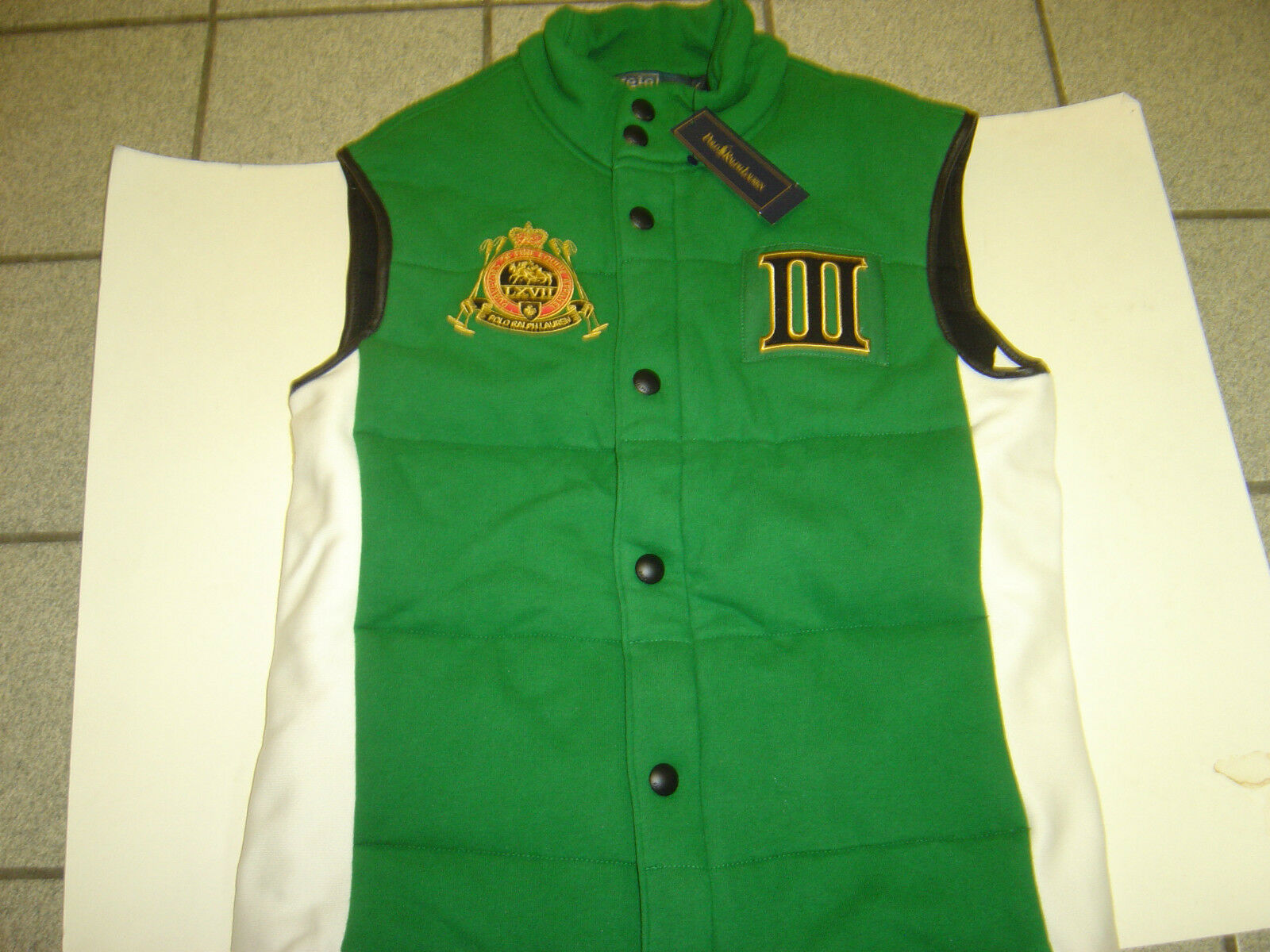 NEW MENS RALPH LAUREN GREEN-WHITE  ENGLAND  QUILTED WINTER VEST SIZE S