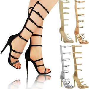 New Womens Ladies Knee High Heel Gladiator Sandals Strappy Celeb ...
