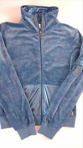 Studio-M-Velour-Track-Jacket-Womens-SZ-S-M-Fitness-Casual-Soft-Blue-Silky-Collar