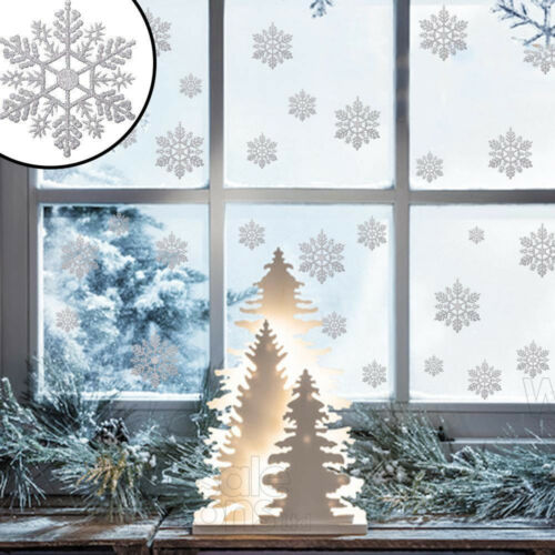 Glitter Silver Snowflake Window Sticker Wall Decal Christmas Home Decoration