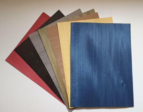 L39 placage pour marqueterie, ébéniste Lot 7 feuilles bois teinté 30x20 cm