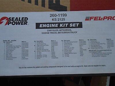 2.0 sohc mitsubishi dodge 83-92 Sealed Power 260-1199 Engine Kit Gasket Set