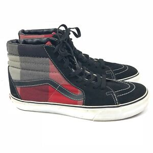edd283786e05 Vans SK8 Hi Top Sneakers Mens 9.5 Black and Red Plaid Suede and ...