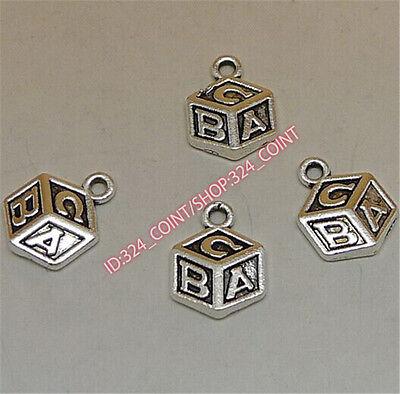 50pc Tibetan Silver character  A/B/C Charm Beads Pendant Jewellery Making P1265