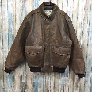 LL Bean Men's Large Brown Goatskin Leather Zip Up Bomber ...