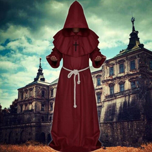 Friar Medieval Cowl Hooded Priest Halloween Party Costume Monk Renaissance Robe