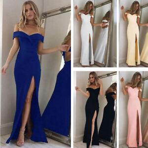 b9a28d7ce La imagen se está cargando Vestido-de-Noche-elegante-Mujeres-Damas -Del-hombro-