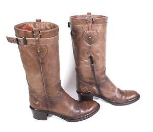 26S Helen Billkrantz Damen Stiefel Leder braun Gr. 36 Biker Boots Blockabsatz