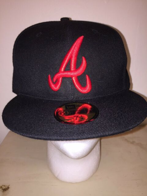bd55829e258 NEW ERA 59FIFTY ATLANTA BRAVES 7 1 4 BLACK RED AUTHENTIC COLLECTION WOOL HAT