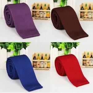 NE-Men-039-s-Fashion-Skinny-Knitted-Necktie-Casual-Narrow-Slim-Solid-Woven-Tie-Surp