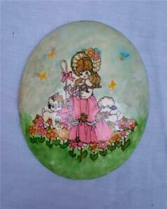 Details About Vintage Nursery Rhyme Decor Oval Ceramic Wall Plaque Little Bo P Sheep