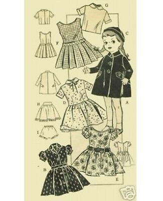 "Vtg Doll Clothes Pattern ~ 22/"" 23/"" Saucy Walker Dress Pinafore Overalls Pajamas"
