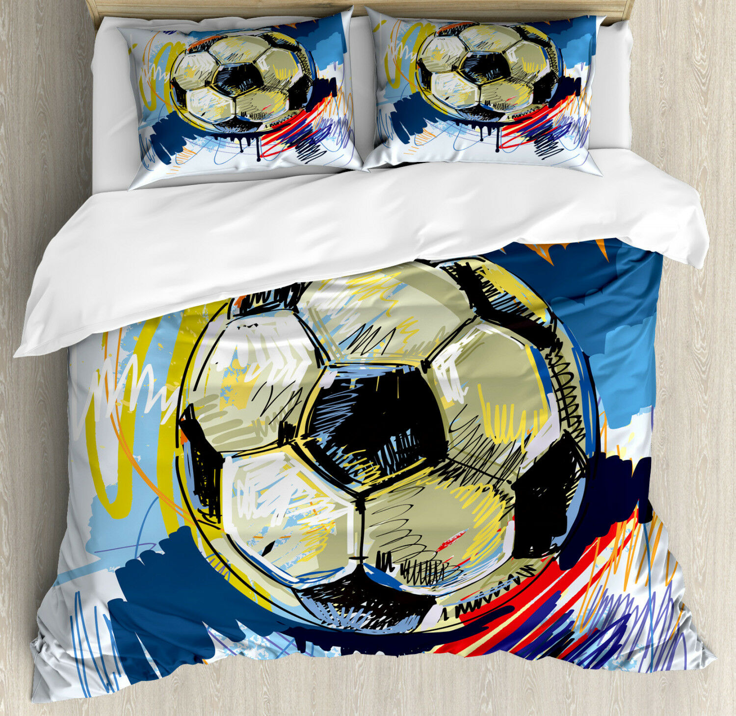 Soccer Duvet Cover Set with Pillow Shams colorful Detailed Artful Print