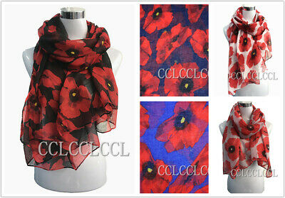 Ladies Red Plum Blossom Floral scarf Fashion Clubs Scarf Wrap Sarong Long Soft