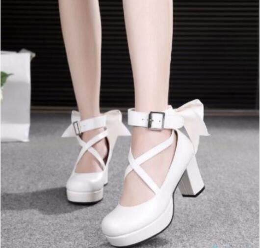 Lolita Womens Bowknot Pumps Block Heels Buckle Cross Strap shoes Vogue Party Hot