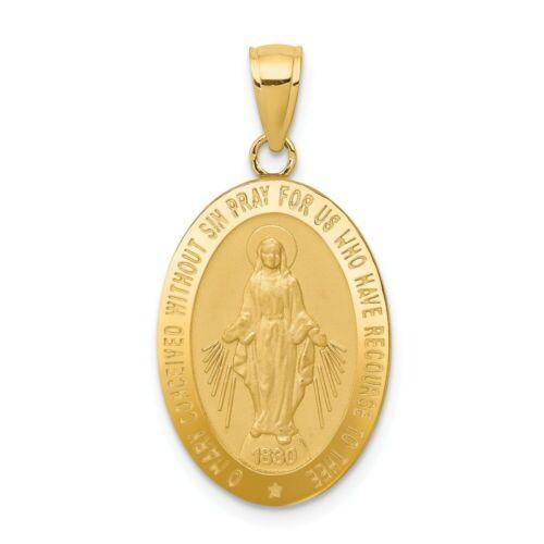 14k 14kt Yellow Gold Miraculous Medal Pendant 31mm X 15mm