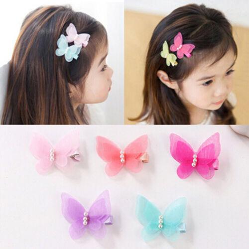 5X Bow Butterfly Hair Clips Girls Hair Grips Kids Hairpin Headwear Accessor/_ne