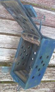 Details About Bait Box Trap Crab Wooden Blue Party Decor Tiki Fish Lobster Shrimp Vintage