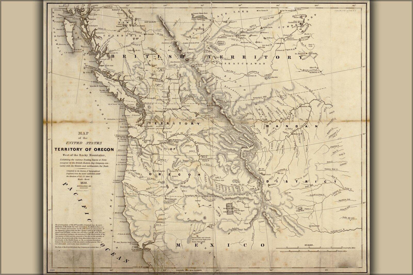 Plakat, Viele Größen; Karte von Oregon Washington Stateroom Kalifornien