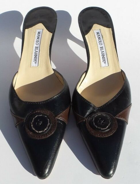 4b0807bc9 MANOLO BLAHNIK Black Brown Leather Button Pointed Toe Mules Heels Pumps 37.5