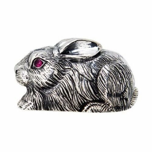 SMALL QUALITY EDWARDIAN STYLE RABBIT FIGURINE RUBY EYES 925 STERLING SILVER