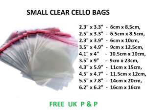 Clear Cellophane Cello Bags Display Garment Self Adhesive Peel Seal Paper Crafts