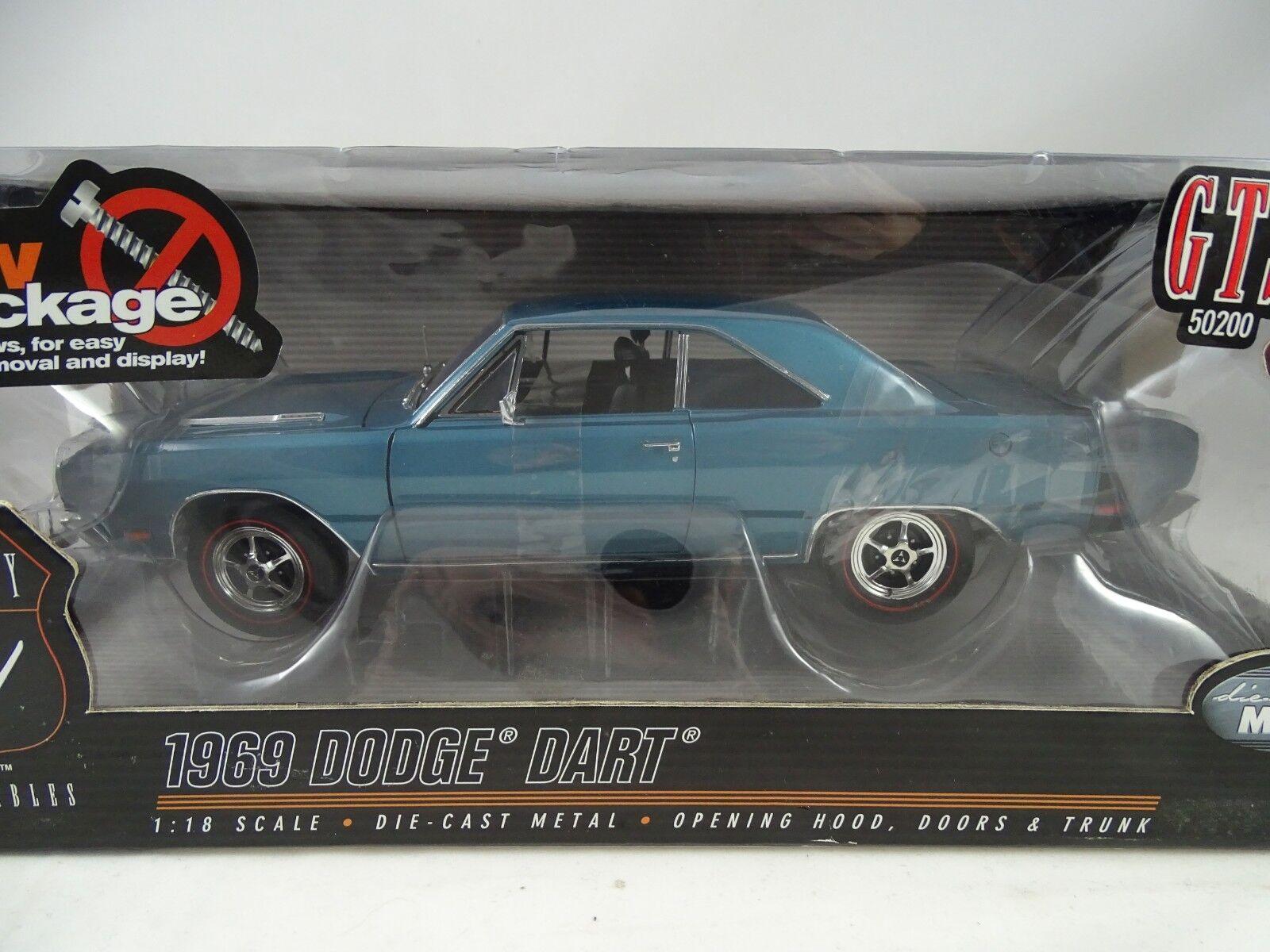 ofreciendo 100% 1 18 Highway 61 61 61  50200 - 1969 Dodge Dart GTS azul-rareza  presentando toda la última moda de la calle
