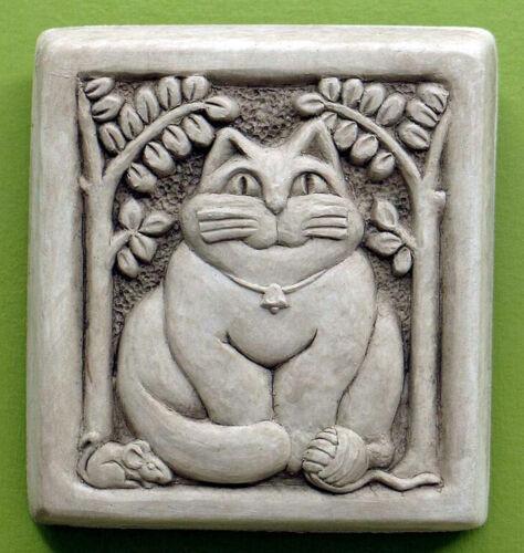 "/""FAT CAT/"" STONE WALL PLAQUE GARDEN DECOR WALL SCULPTURE AGED STONE FINISH"
