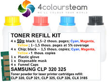 4x 50g TONER REFILL RESET CHIP FOR SAMSUNG CLP 320 321 325 326 CLX 3185 CMYK
