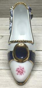 Collectible-White-Blue-Floral-Gold-Trim-Porcelain-Victorian-Style-High-Heel-Shoe
