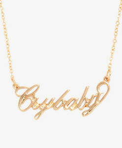 MELANIE-MARTINEZ-CRY-BABY-NAMEPLATE-NECKLACE-Gold-Tone-Crybaby-Pendant-NEW