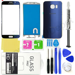 Samsung-Galaxy-S6-G920-OEM-Blue-Front-amp-Back-Glass-Lens-Screen-Replacement-Kit