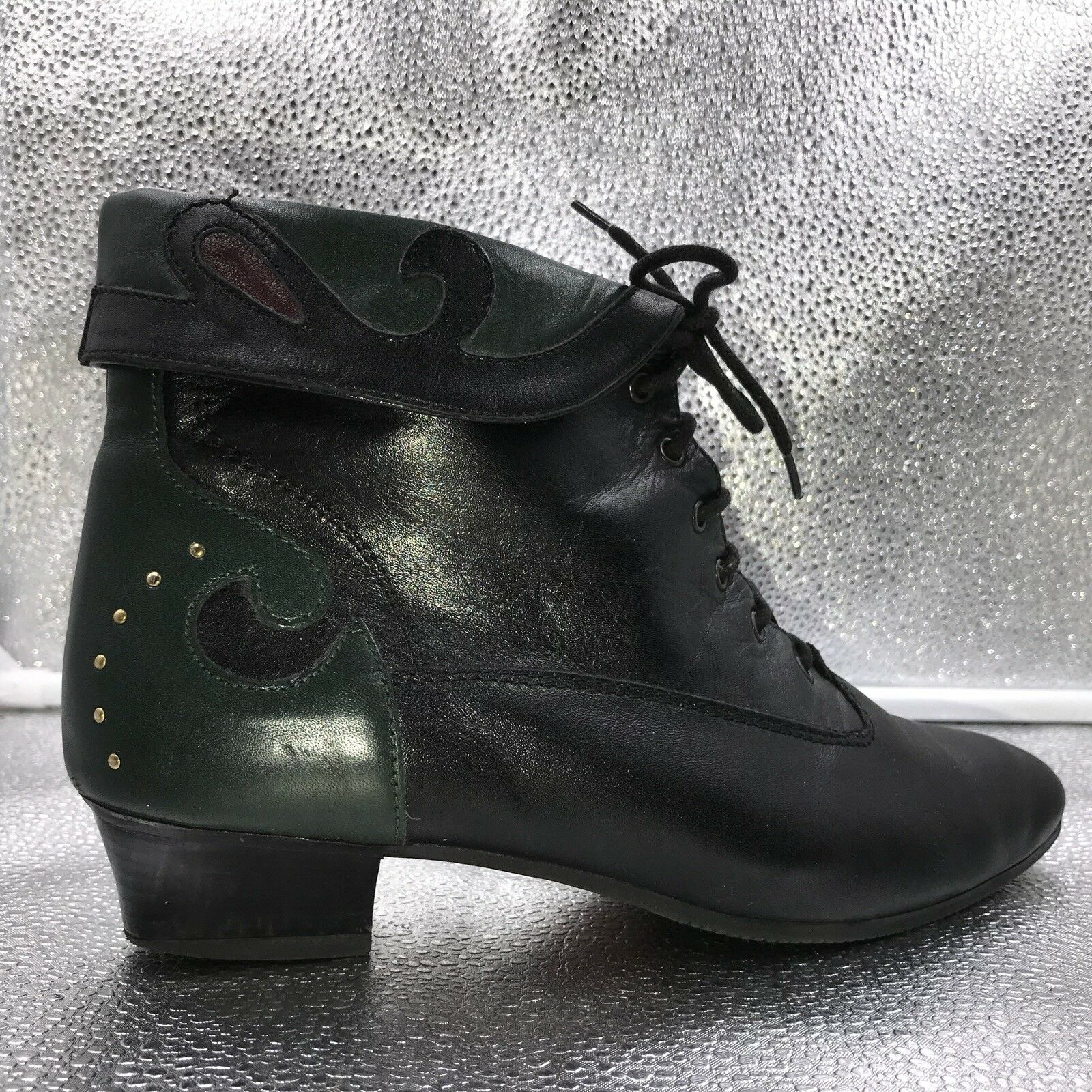 Vintage Sz37 Sz37 Sz37 4 Bally Black & Green Leather Ankle Boots Booties With Studs Womens fb555f