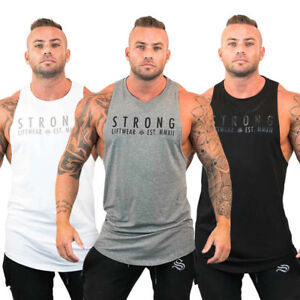 Mens-Bodybuilding-Stringer-Tank-Top-Y-Back-Gym-Workout-Sports-Vest-Shirt-Clothes