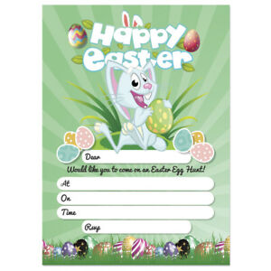 Image is loading 20-x-Easter-Egg-Hunt-Party-Invitations-Rabbit-