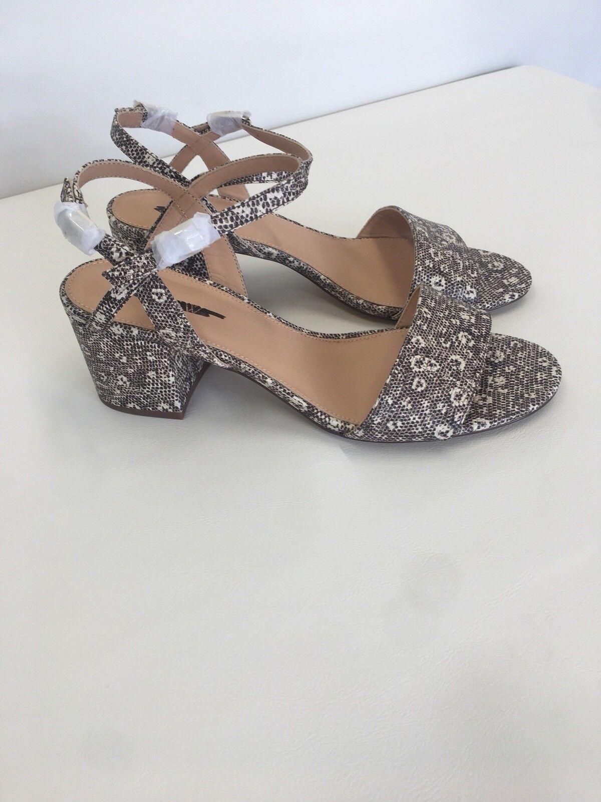 New J Crew Block-heel Sandals (60mm) In Lizard-Stamped Leather Sz 9.5 H7328