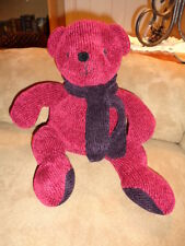 "Bear Pottery Barn Burgundy with Purple Scarf Chenille Stuffed Plush Bean 14"""