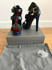 Alexander McQueen multi-colored enamel leather platform heels, size 41