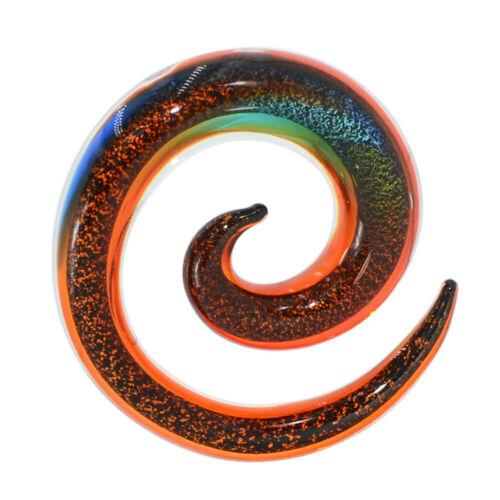 2pcs Pyrex Glass Ear Hanger Weights Gauges Spiral Taper Ear Tunnel Plug Piercing