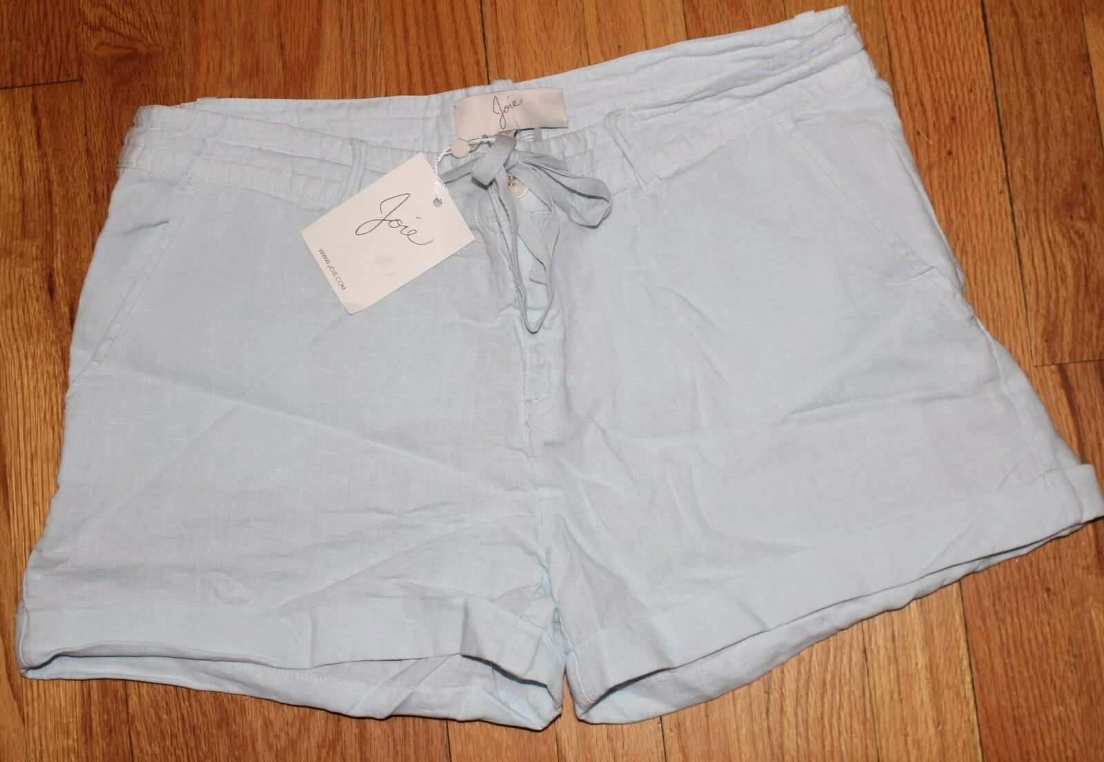 JOIE LIGHT blueE 100%LINEN DRAW STRING SHORT US 10