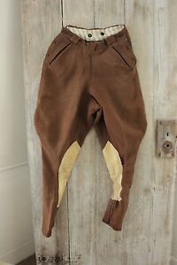Vintage-French-pants-Riding-breeches-Equestrian-wool-cotton-suede-trousers-26-W
