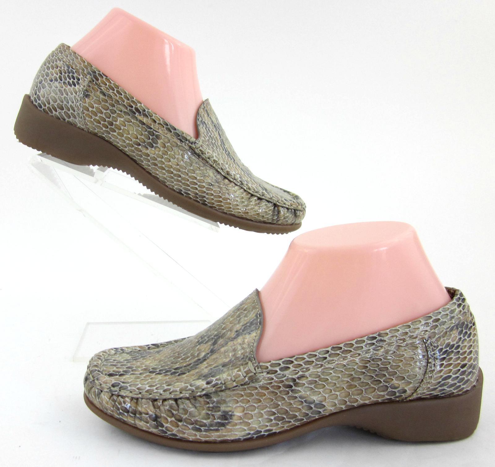 New! ARA Donna Slip On Loafers Tan Snake Print Patent Pelle US 6  165+