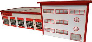 Feuerwehrhaus-Feuerwache-HO-1-87-Kartonmodellbausatz