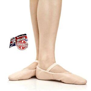 PINK-LEATHER-BALLET-DANCE-SHOES-FULL-SUEDE-SOLE-ELASTICS-IRISH-JIG-PUMPS